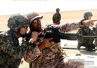 United Arab Emirates Army - UAE army soldiers in a joint training exercise with South Korean soldiers in United Arab Emirates.