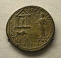 201209071748c Berlin Pergamonmuseum, Bronzemünze Caracalla in Pergamon, FO Pergamon, kaiserzeitlich, VS Panzerbüste Caracalla, 214-215 u..Z.jpg