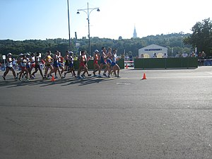 2013 World Championships in Athletics – Men's 20 kilometres walk - Image: 2013 IAAF World Championships in Moscow 20 km walk men Peloton 01
