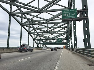 Interstate 95 in Maine - Entering Maine from New Hampshire on the Piscataqua River Bridge