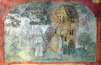 Gertrude of Nivelles - Saint Gertrude saving a house on fire. Detail of a mural in the Crosier Monastery, Maastricht