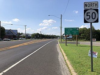 New Jersey Route 50 - View north along Route 50 at US 9 in Upper Township