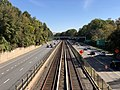 2018-10-25 12 01 24 View east along Interstate 66 (Custis Memorial Parkway) and the Orange and Silver lines of the Washington Metro from the pedestrian overpass connecting Fairfax Drive to 9th Road North in Arlington County, Virginia.jpg