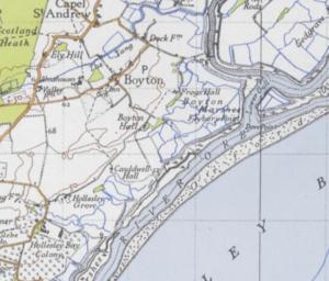 Boyton, Suffolk - An Ordnance Survey map of the Parish of Boyton from the 20th Century
