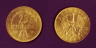 First Austrian Republic - 25 schilling golden coin