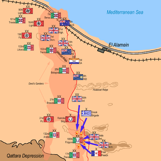 185th Paratroopers Division Folgore - The second Battle of El Alamein: 7th Armoured Division, 44th Infantry Division, 50th Infantry Division and Free French Brigade attack Folgore from three directions: 10:30pm October 25, 1942, until 3am October 26, 1942.
