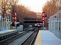 2 Fairmount Line trains near Talbot Ave.JPG