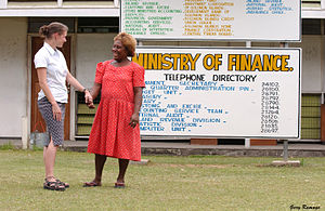 Regional Assistance Mission to Solomon Islands - RAMSI adviser Sally Taylor with Ruth Gilbert from the Solomon Islands Ministry of Finance.