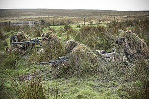 Ghillie suit - British snipers from 34 Squadron training in ghillie suits