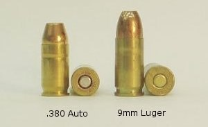 .380 ACP - The .380 ACP compared to a 9mm Luger cartridge.