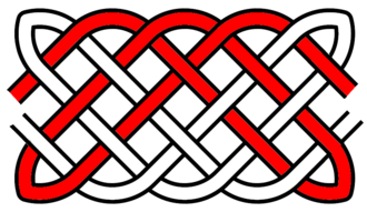 Basket weave knot - A diagram of a basket weave knot on a 3x5 rectangular grid