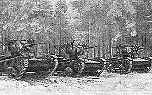44th Rifle Division (Soviet Union) - T-26 tanks of the 44th Rifle Division in Finland prior to an attack