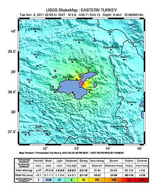 2011 Van earthquakes - USGS ShakeMaps showing the intensity patterns for the mainshock (left) and the 9 November event