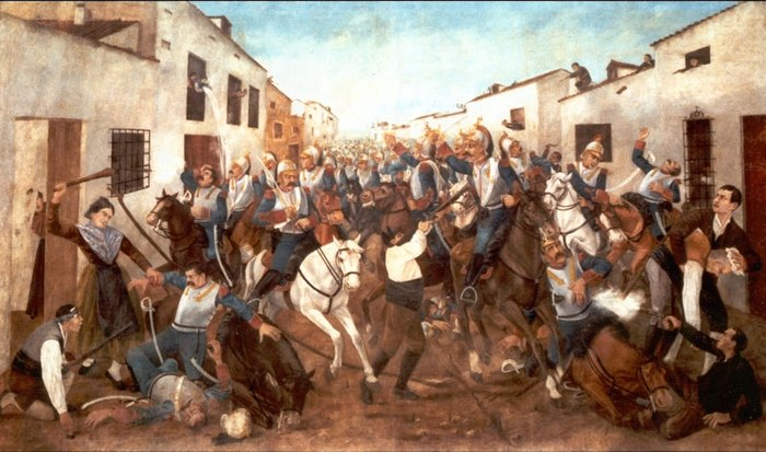 Spanish guerrilla resistance to the Napoleonic French invasion of Spain in 1808, where the term guerrilla was first used in warfare 6-de-junio-1808.jpg