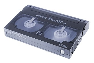 8 mm video format - The write-protect switch (right) prevents accidental erasure.