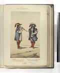 A) Pifaro, Infanteria de linea. Tercio de los azules viejos. (b) Tambor, Infanteria de linea. Tercio de los verdes viejos. 1680 (NYPL b14896507-87495).tiff