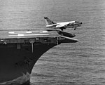A-7E Corsair II of VA-147 is launched from USS Constellation (CVA-64) in the South China Sea on 29 July 1974 (USN 1160250).jpg