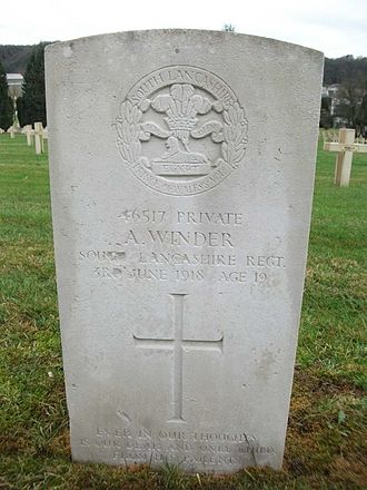 South Lancashire Regiment - Grave of a South Lancashire private killed in 1918, in the Bar-le-Duc Cemetery.