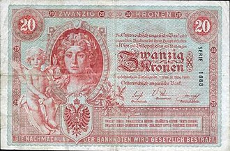Banknotes of the Austro-Hungarian krone - Image: AHK 20 1900 obverse