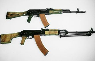RPK - Comparison of the AK-74 (top) and RPK-74 (bottom).