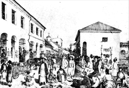 Lithograph of a cosmopolitan fair in Iasi (c. 1845); two Orthodox Jews are visible to the right AKauffmannJReyIasiFair.PNG