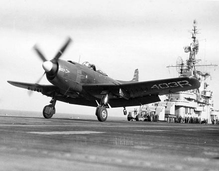 A VA-174 AM-1 taking off from the USS Kearsarge on 27 December 1948 - Martin AM Mauler