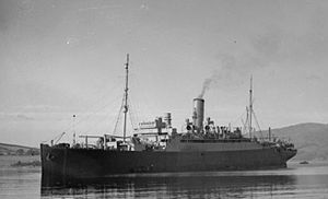 HMS Artifex (F28) - Aurania lying in Rothesay Bay on 24 October 1941, after having been damaged in the Atlantic