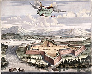 AMH-6134-NA Bird's eye view of the fort of Batticaloa