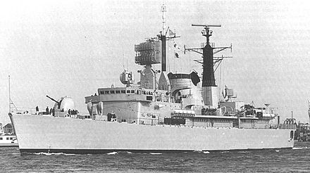 The Argentine destroyer ARA Santisima Trinidad landed special forces south of Stanley. ARASantisimaTrinidadD-2.jpg