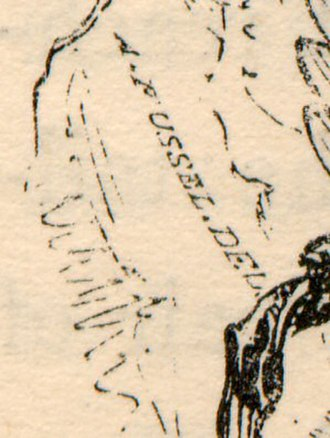 A History of British Birds (1843) - Alexander Fussell's signature on his drawing of the snowy owl
