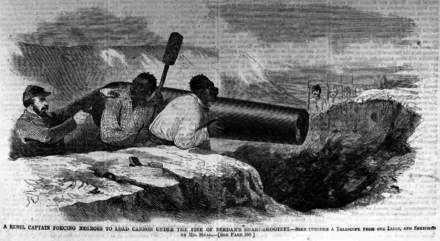 An 1862 illustration of a Confederate officer forcing slaves at gunpoint to fire a cannon at U.S. soldiers in battle. A similar instance occurred at the first Battle of Bull Run, where slaves were forced by the Confederates to load and fire a cannon at U.S. forces. A Rebel Captain Forcing Negroes to Load Cannon Under the Fire of Beedan's Sharp-shooters (May 1862), by Harper's Weekly.png
