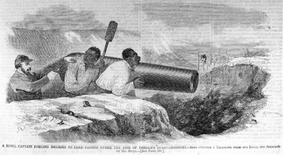 A Rebel Captain Forcing Negroes to Load Cannon Under the Fire of Beedan's Sharp-shooters (May 1862), by Harper's Weekly
