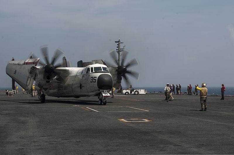 C 2a Greyhound Logistics Aircraft File:A U.S. Sailor, in...