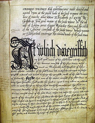 Carmarthen - A page from Carmarthen Borough's Book of Ordinances, 1582