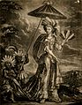 A very tall woman, with two small black servants. Mezzotint. Wellcome V0007492.jpg