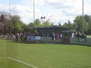 Abingdon United F.C. - The old stand and dugouts at Northcourt Road.