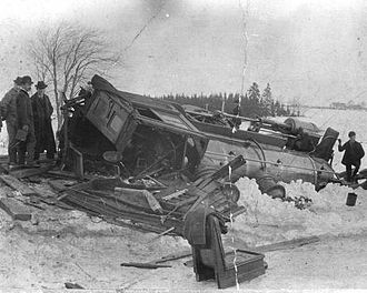 Prince Edward Island Railway - This steam engine left the rails near New Annan in 1903. No one was hurt, but another accident at the same location three years earlier scalded the engineer to death. Such accidents were common on the PEIR's narrow-gauge line, which was subject to shifts and frost heaves.