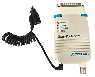 Accton Etherpocket-SP parallel port Ethernet adapter (circa 1990). Supports both coaxial (10BASE2) and twisted pair (10BASE-T) cables. Power is drawn from a PS/2 port passthrough cable. Accton-etherpocket-sp-parallel-port-ethernet-adapter.jpg