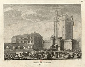 Day of Daggers - Lafayette addresses the crowd destroying the dungeon in Château Vincennes on 28 February 1791