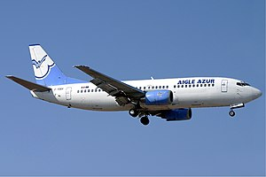 Aigle Azur - A Boeing 737-300 of Aigle Azur approaches Malta International Airport in 2004.