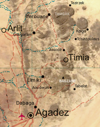 Arlit - Map of the southern Aïr Mountains