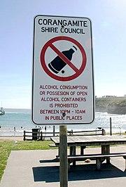 Alcohol restriction in Victoria, Australia.
