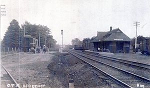 "Aldershot GO Station - GTR station in 1910 with the sign showing ""Waterdown"""