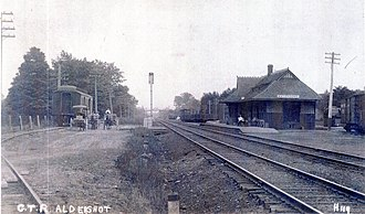 """Aldershot GO Station - GTR station in 1910 with the sign showing """"Waterdown"""""""