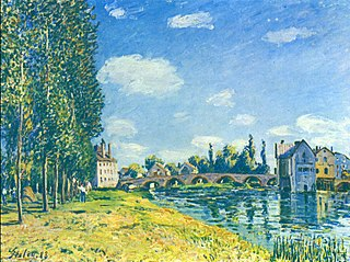 Bridge and Watermill of Moret in Summer
