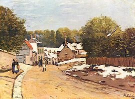 First snow in Louveciennes by Alfred Sisley, 1870
