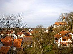 Blick vom Burgstall auf Altkissing (Kissing) bei Augsburg (Landkreis Aichach-Friedberg, Bayerisch-Schwaben). Eigene Aufnahme, Dez. 2006 / Kissing (Alt...