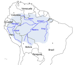Map showing the course of the Amazon, selected tributaries, and the approximate extent of its drainage area