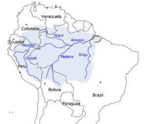 Mapa mostrando o trajeto do rio Amazonas, seus principais afluentes e a área aproximada de sua bacia hidrográfica.