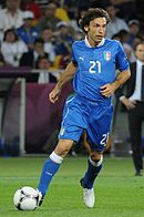 Andrea Pirlo in at UEFA Euro 2012, wearing the completely blue kit, a colour scheme often used by the national team since the 2000s.